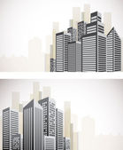 Set of cityscape banners — Stock Vector