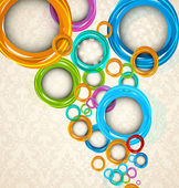 Circles on floral background — Stock Vector
