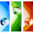 Set of banners with globes — Stock Vector