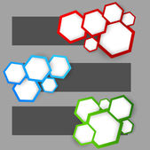 Set of banners with hexagons — Stock Vector