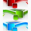 Set of wavy banners with squares — Stock Vector #29883207