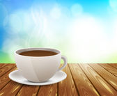 Чашка кофе на деревянный стол — Cтоковый вектор