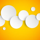 Abstract orange background with paper circles — Stock Vector