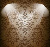 茶色の色で抽象的なダマスク — ストックベクタ