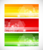 Set of tech banners with hexagons — Stock Vector