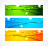 Set of banners with wavy lines — Stock Vector