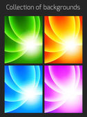 Set of colorful backgrounds with light effect — Stock Vector