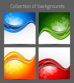 Set of wavy backgrounds — Stock Vector