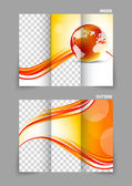 Globe wave tech tri-fold brochure — Stock Vector