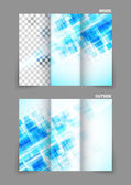 Digital tri-fold brochure with squares — Stock Vector