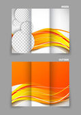 Tri-fold brochure in orange color — Vector de stock