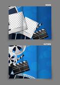 映画館 3 つ折りパンフレットのデザイン — ストックベクタ