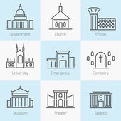 Set of government buildings icons — Stock Vector