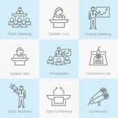 Set of public speaking icons — Stock Vector