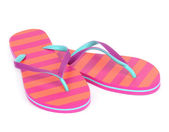 Pair of striped flip-flop sandals — Stock Photo