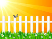 Wooden fence and butterfly — Stock Vector