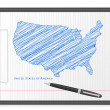 Clipboard USA map — Stock Vector