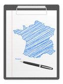 Clipboard France map — Stock Vector