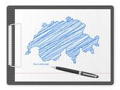 Clipboard Switzerland map — Stock Vector