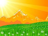 Orange himmel landschaft — Stockvektor