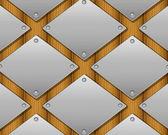 Kovové desky a dřevěné pozadí — Stock vektor