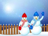 Snowmans paisaje de invierno — Vector de stock