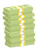 Dollar banknote stacks — Vector de stock
