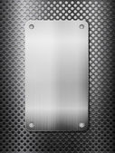 Rejilla metálica negra y placa vertical — Vector de stock