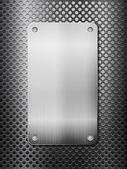 Zwart metalen raster en plaat verticale — Stockvector