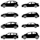 Jeu de voitures silhouette — Vecteur