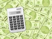 Dollar banknotes and calculator — Stock Vector