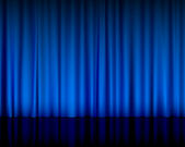 Theatre curtain blue — Stock Vector