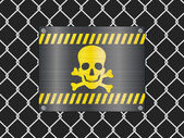 Wire fence and jolly roger sign — Stock Vector