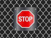 Draad hek en stopbord — Stockvector