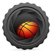 Spouště fotoaparátu s basketbalový míč — Stock vektor