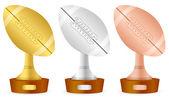 Football trophy set — Stock Vector