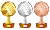 Volleyball trophy set — Stock Vector