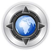 Multimedia button globe — Stock Vector