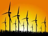 Wind generators and sunset — Stock Vector