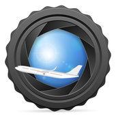 Camera sluiter met vliegtuig — Stockvector