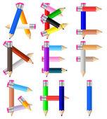 Pencils letter A-I — Stock Vector