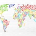 Постер, плакат: Color drawing political world map
