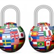 Royalty-Free Stock Vector Image: Padlock flags globe