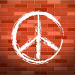 Brick wall and peace symbol - Stock Vector