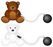 Shackles with teddy bear — Stock Vector