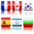 Square national flags icon set 5 — Stock Vector