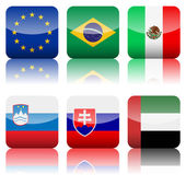 Square national flags icon set 3 — Stock Vector