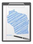 Klembord wisconsin kaart — Stockvector