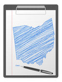 Clipboard Ohio map — Stock Vector