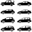 Cars silhouette set - Stock Vector
